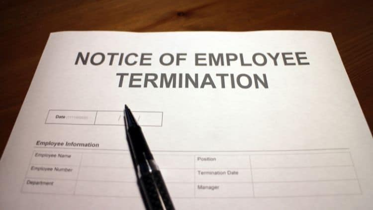 notice of employee termination and returning company property